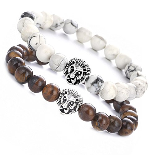 BBX JEWELRY Couple Distance Bracelet with Silver plated Lion white turquoise & Tiger's eye 8mm Beads Bracelet from BBX JEWELRY