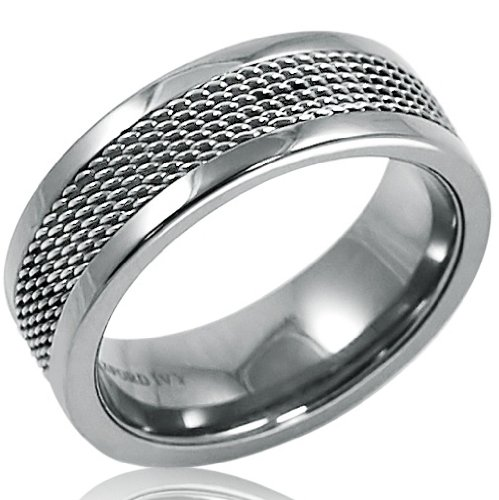 Mens 8mm Titanium Comfort Fit Mesh Inlay Wedding Band (Choose Your Ring Size 8-12 1/2) (Band Mesh Ring)