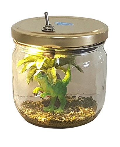 Marmelada Lights Handicraft Nursery Night Light | Hand Made Story in a Jar Junior Series | Baby Dino LED Bedside Baby/Children Night Lamp | Bookshelf or Tabletop, Battery Operated For Sale