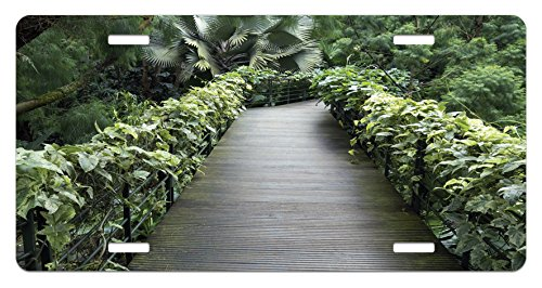 Fence Tropical Decor (Asian License Plate by Ambesonne, Scenic Wooden Pathway in Singapore Botanical Garden Fence Rainforest Tropical, High Gloss Aluminum Novelty Plate, 5.88 L X 11.88 W Inches, Fern Green Brown)