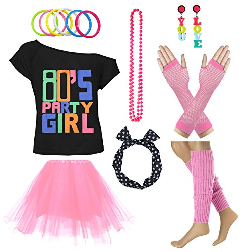 Xianhan 1980s Outfit 80's Party Girl Retro Costume Accessories Outfit Dress for 1980s Theme Party Supplies (XL/XXL, -