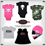CrazyBabyClothing White Scribble Skull Baby