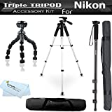 Triple Tripod Accessory Bundle Kit For GE POWER Pro series X500, X5, X550 Power Pro Digital Camera Includes 57 Inch Pro Tripod w/ Case + 67 Inch Monopod w/ Case + 7 Gripster Flexible Tripod
