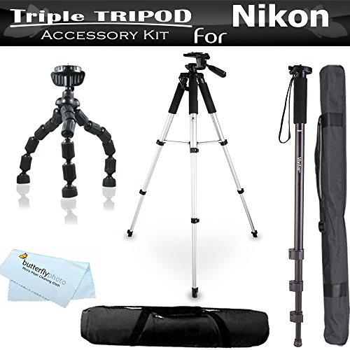 Triple Tripod Accessory Bundle Kit For Nikon 1 J1, Nikon 1 V1, Nikon 1 J2, Nikon 1 J4, Nikon 1 S2 Mirrorles Digital Camera Includes 57 Tripod w/ Case + 67 Monopod w/ Case + 7 Flexible Tripod + More