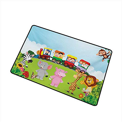 Becky W Carr Cartoon Front Door mat Carpet Kids Nursery Design Happy Children on a Choo Choo Train with Safari Animals Artwork Machine Washable Door mat W29.5 x L39.4 Inch,Multicolor (Dog Won T Poop In The Snow)