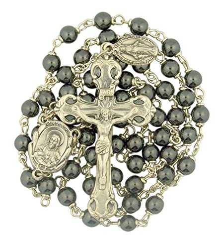 (Creed Hematite Prayer Bead Sacred Heart Rosary with Dangling Miraculous Medal, 19 Inch)