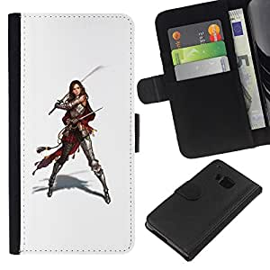 Be-Star la tarjeta de Crédito Slots PU Funda de cuero Monedero caso cubierta de piel Para HTC One M7 ( Samurai Warrior Swordsman Woman )