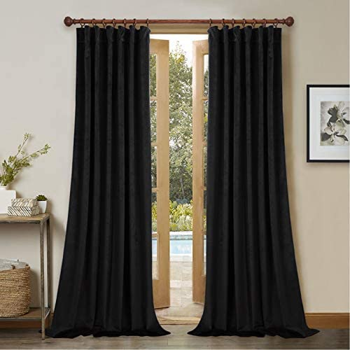 StangH Black Velvet Curtains Set of 2 Blackout Panels 120-inches Extra Long Thick Thermal Insulated Drapes Total Privacy Protect Panel