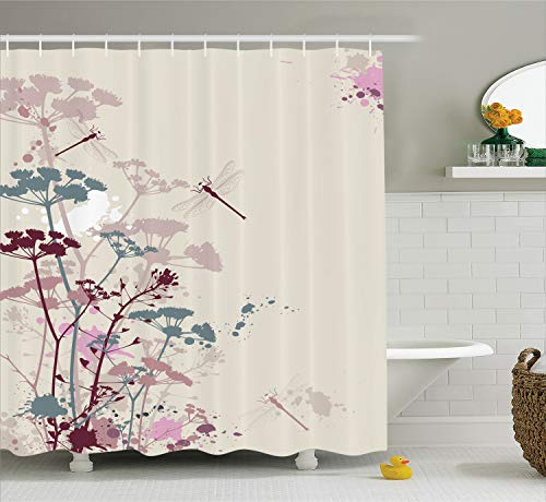 Petal Dragonfly - Ambesonne Country Decor Collection, Plants and Petals with Dragonfly Soft Color Design with Grunge Effects Vintage Style Picture, Polyester Fabric Bathroom Shower Curtain Set with Hooks, Multi