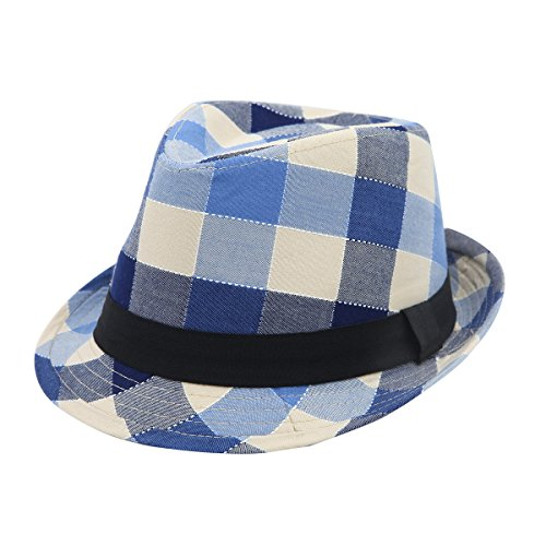 - Premium Multi Color Plaid Stitch Black Band Fedora Hat, Blue