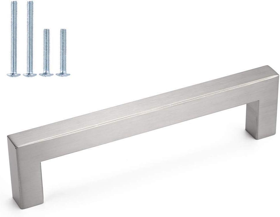 96mm Cabinet Pulls Brushed Nickel Cabinet Handles homdiy - J12SN Drawer Handles Square Drawer Pulls for Kitchen Cupboard Door, Bedroom Dresser Drawer, Bathroom Wardrobe Hardware