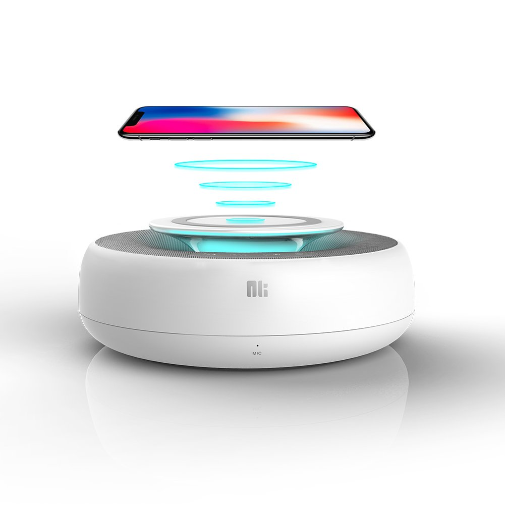 Nillkin Bluetooth 4.0 Speaker Wireless Qi Charger Fast Charging Pad, Aux Port Connection and NFC Play Music, Qi Wireless Fast Charger Compatible iPhone X/iPhone 8/8 Plus/Samsung s8,etc.(White)