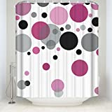 Polka Dot Shower Curtain CHARMHOME Popular Pink Polka Dots Long Polyester Fabric Waterproof Shower Curtain 60x72 inch