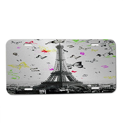 (Eiffel Tower Butterfly Swoop - Car Tag License Plate)