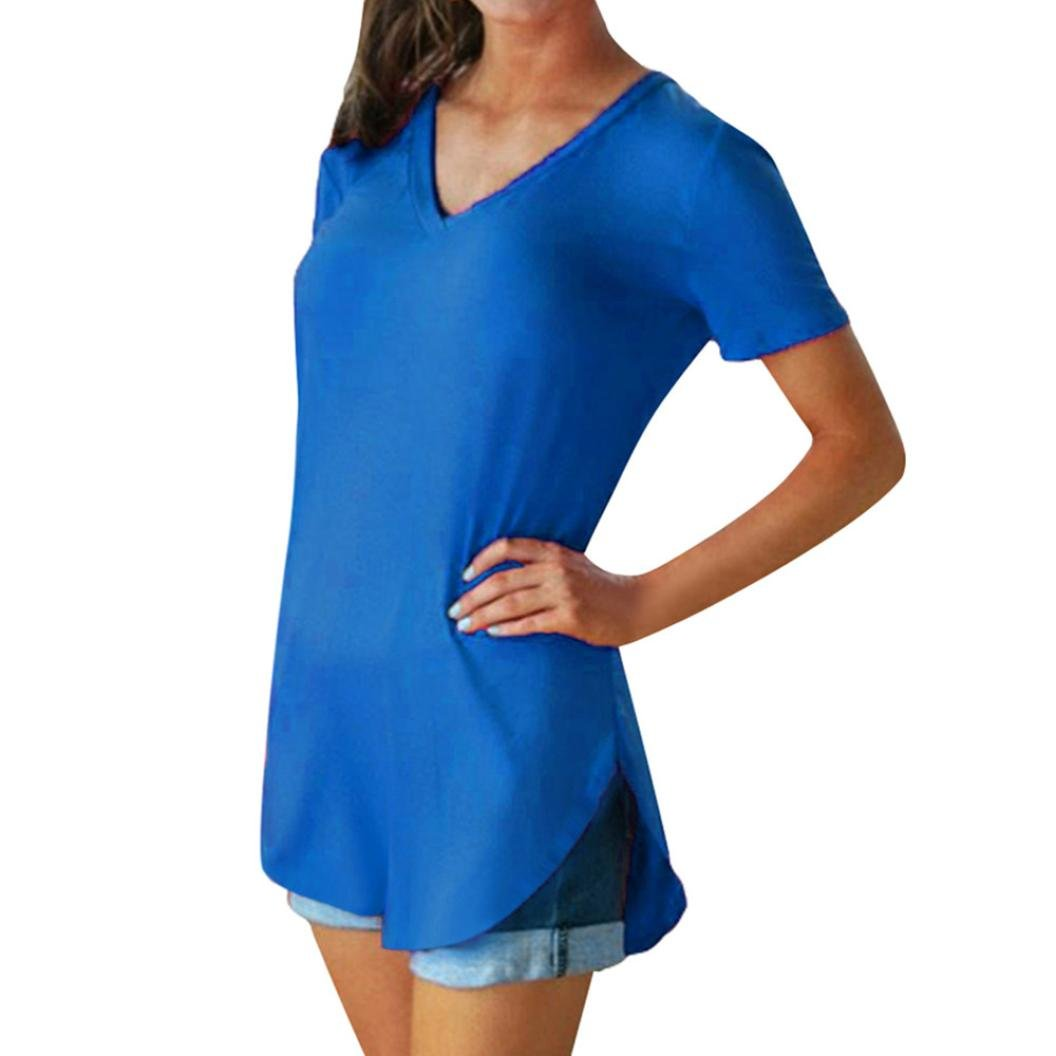Easytoy Women Casual Solid V Neck Loose Short Sleeve T Shirts Basic Tunic Tee Tops Blouse