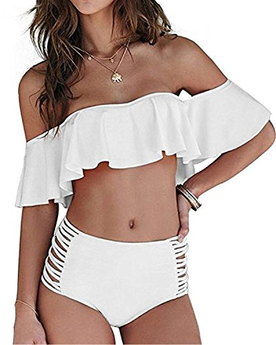 Dellytop Womens Off The Shoulder Ruffle High Waist Bikini Sets Two Piece Swimsuits Bathing Suits,White,Large