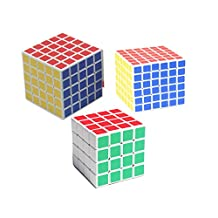 Set of shengshou 4x4,5x5,6x6 sticker magic cube,white( 3 in packed)