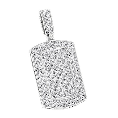 Luxurman Natural 0.9 Ctw Diamond Dog Tags 10K Iced Out Small Tag Pendant (White Gold) -