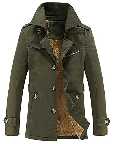 Trench Coat Outerwear Lined 1 Mens Padded Color Casual Blazer Jacket MK988 Cotton Solid PYqT0