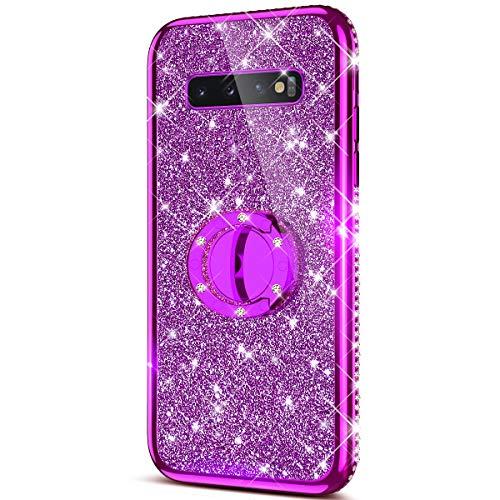 Case for Galaxy S10 Plus Glitter Case,Sparkly Glitter Bling Diamond Rhinestone Bumper with Ring Kickstand Flexible Soft Rubber TPU Protective Case Cover for Galaxy S10 Plus Case for Girl Women,Purple ()