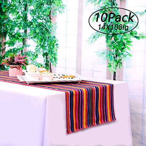 LGHome Mexican Table Runner, Mexican Blanket Candy Table Runner Pack of 10, Mexican Serape Table Runner 108inch, Vibrant Colors for Cinco De Mayo Party, Fiesta Themed -