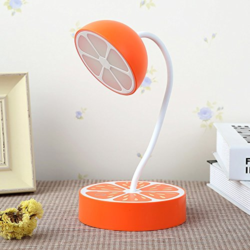 LongYu Small table lamp induction fruit plastic home bed head child led protection eye learning reading USB rechargeable night light creative gift energy saving (Color : Orange orange) by LongYu