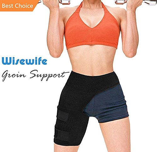 Groin Support Compression Recovery Thigh Wrap for Hip Injury Sciatica Adjustable Neoprene Thigh Compression Wrap for Sciatic Nerve Pain Neoprene Hernia Pulled Groin Quad Hamstring Brace for Men Women by Wisewife