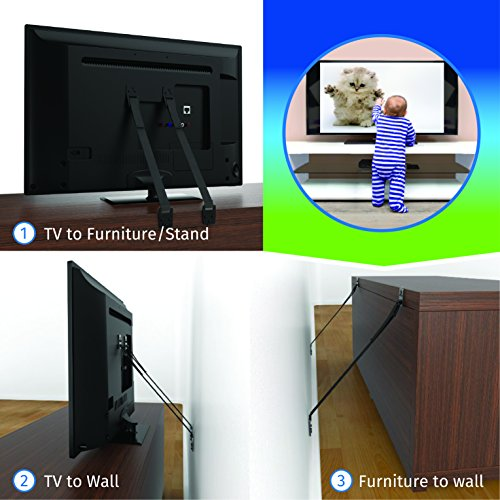 Anti-tip-TV-Furniture-Safety-Strap-4-Straps-WMagnetic-Stud-Finder-Mounting-Hardware-Best-Flat-Panel-LCD-Screen-Anchor-Brackets-Adjustable-Tethers-Child-Baby-Proof-Earthquake-Safe
