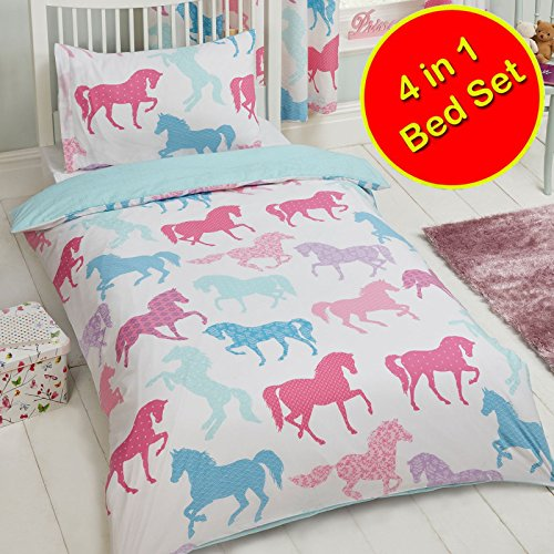 Price Right Home Patchwork Ponies Horses 4 in 1 Junior/Toddler Bedding Bundle Set (Duvet, Pillow and Covers)