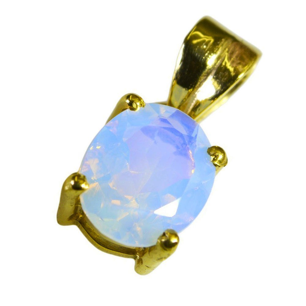 Fire Opal CZ Pendant Gold Plated For Women Charms October Birthstone Oval Prong Style Necklace Handmade