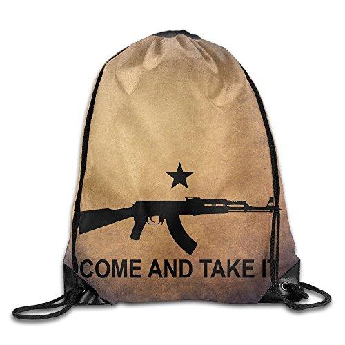 Ak-47 Rifle Come And Take It Drawstring Backpack Bag Gym Sack (Arsenal New Era)