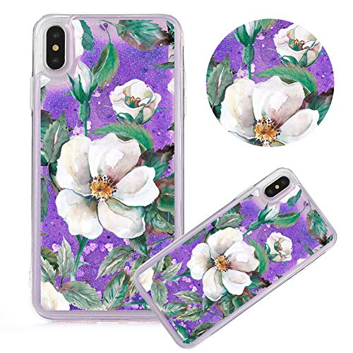 - iPhone 6S Plus Case,Glitter Painted Quicksand Case for iPhone 6 Plus,Moiky Flower Series Color Printing Liquid Sparkly Quicksand Soft Clear TPU Crystal Transparent Protective Cover,Gardenia#Purple