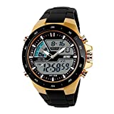 Men's Electronic Sports Watch with LED Backlight Water Resistant Chronograph Quartz Military Casual Digital Watches-Gold