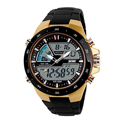 Price comparison product image SKMEI Men's Digital Sports Watch with LED Back Light Large Face Water Resistant Military Watches Casual Luminous Stopwatch Alarm Simple Army Watch - Gold