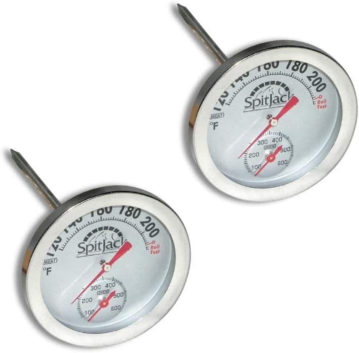 SpitJack Dual Sensor Meat and Oven Thermometer for Rotisserie Cooking Whole Pig, Hog, Lamb and Turkey. Internal and External Meat Probe for Grill, Smoker, Oven and Kitchen (2 Pack)