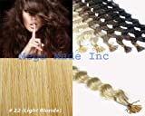 25 Strands Deep Wave Curly Micro Ring Links Needle Stick Head I Tip Human Hair Extensions Color #22 Light Blonde