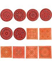 Magnoloran 12 Pieces Wooden Stamps, Retro Vintage Floral Flower Pattern Rubber Stamp Set for DIY Craft Card Making Planner Scrapbooking Supplies