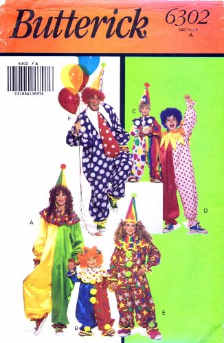 Butterick 6302 Childrens Clown Costume Sewing Pattern Size 2 - 14 (Clown Costume Patterns)