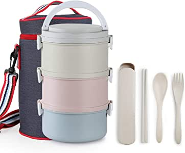 Bento Box,Wheat Straw Portable Leakproof Lunch Box with Lunch Bag, Eco-Friendly Food Storage Container for Kids, Microwave/Dishwasher/Freezer Safe. Rainbow
