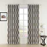 """IYUEGOU Plaid Check Jacquard Polyester Room Darkening Grommet Top Curtain Draps With Multi Size Custom 50"""" W x 84"""" L (One Panel)"""
