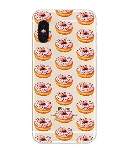 Apple iPhone X Compatible, Designer Choice Collection Colorful Flexible Ultra Slim Transparent Translucent Apple iPhone Case Cover - Sweet Delicious Donut Treat Overload