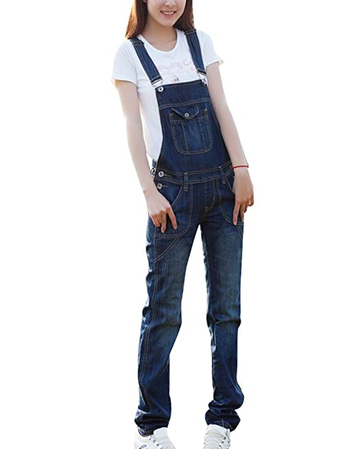 huge discount a38f4 8979d Qitun Salopette Donna Jeans Ragazza Lunga Casual Overall ...