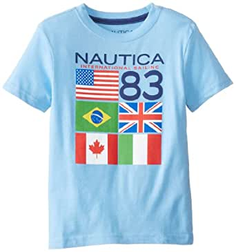 Nautica Little Boys' 83 Flag Tee 2, Blue Buff, 5/6