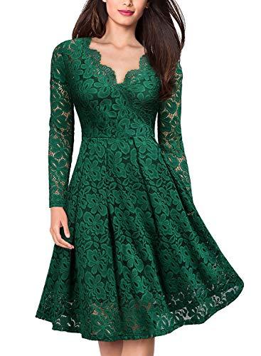 MISSMAY Women's Vintage Floral Lace V-Neck Cocktail Formal Swing Dress X-Large Green -