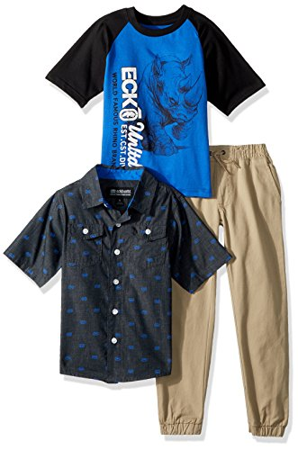 (Ecko Little Boys' Short Sleeve Sport Shirt, T-Shirt, and Pant Set, Multi Plaid, 4)