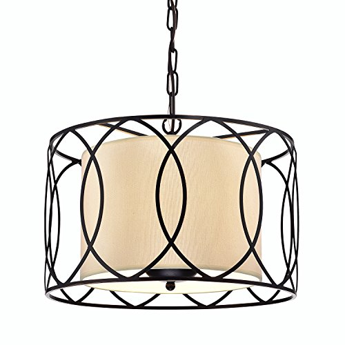 Edvivi Merga 3-Light ORB Wrought Iron Drum Cream White Shade Chandelier Ceiling Fixture | Coastal Lighting