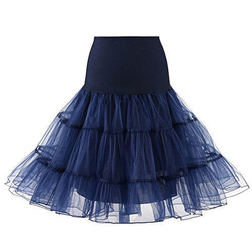 Women Tutu Skirt Tulle Party Elastic LED Light 3 Layered A-Line Dance Skirts Petticoat (L, Navy) - Hand Embroidery Belly Dance Costume