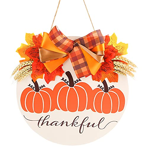 JOHOUSE 13inch Thanksgiving Door Sign,Round Wood Door Sign Hanging Welcome Door Sign Welcome Door Sign for Front Door for Thanksgiving Decorations Holiday Welcome Home Decorations