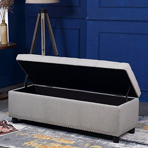 Belleze Rectangular Storage Ottoman Footrest