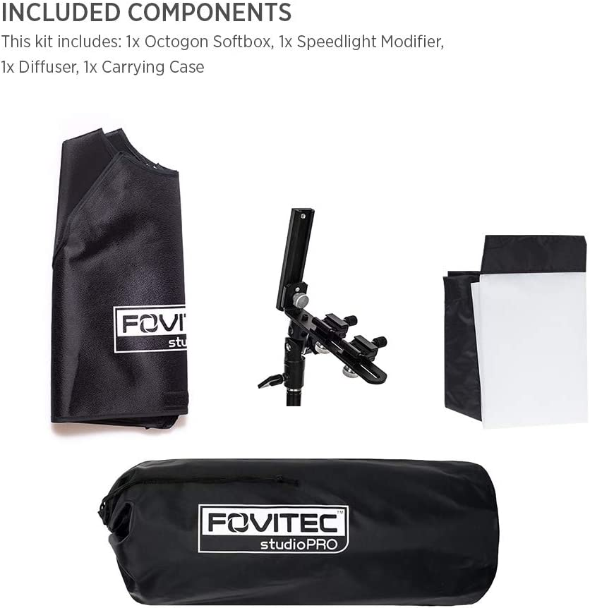 Lightweight Easy Set-up Fovitec 1x 24 inch Photography /& Video Octagon Softbox - Durable Nylon Hand Grip Carry Sleeve Included